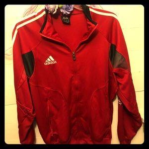 EUC Adidas red track jacket with zipper pockets